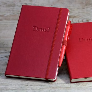 Blind Debossed Red Castelli Sherwood Notebooks with Pen