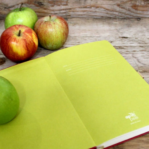 Inside of Appeel Eco Friendly Notebook with Apples