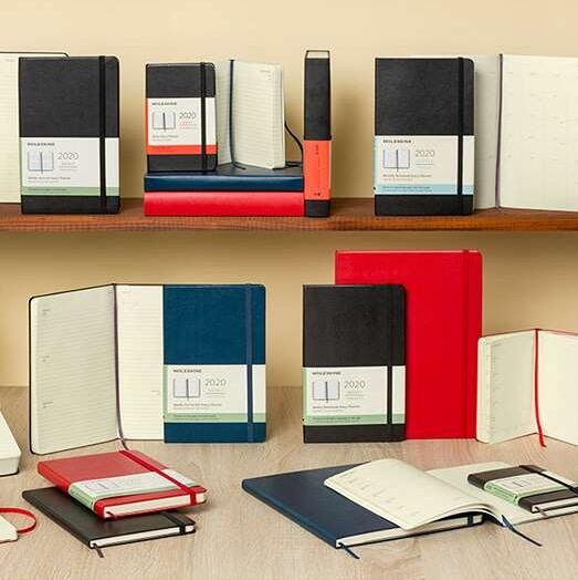 Moleskine Classic Softcover Notebooks Displayed on a Shelf