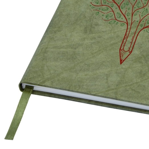 Green Stone Paper Notebook With Red Branding On The Cover