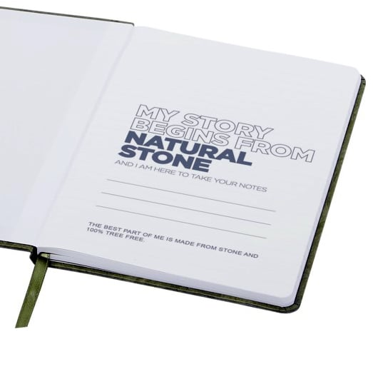 Inside Page of Stone Notebook With Text I Am Made From Natural Stone.
