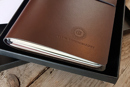 Branded recycled leather notebook